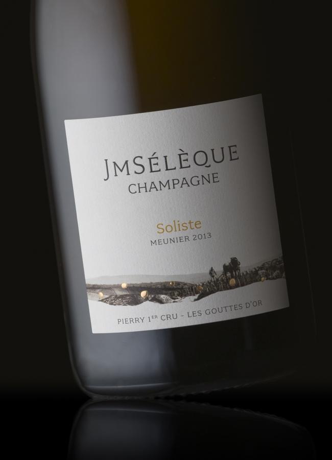 Packshot de la cuvée Jean-Marc Sélèque Champagne - Soliste - Meunier 2013 - Pierry 1er Cru - Les gouttes d'Or